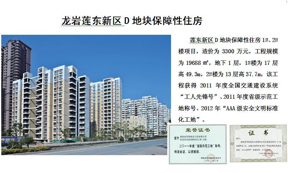 龙岩莲东新区D地块保障性住房工程